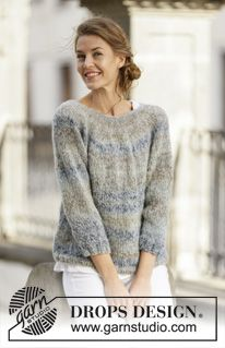"""Sea Mist - Knitted DROPS jumper with ¾ sleeves and round yoke in """"Delight"""" and """"Brushed Alpaca Silk"""". - Free pattern by DROPS Design Cardigan Pattern, Sweater Knitting Patterns, Free Knitting, Crochet Patterns, Drops Design, Manga 3 4, Alpacas, Pulls, Knitting Projects"""