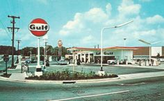 Thruway Gulf at I-40 and Knowlwood, 1960's