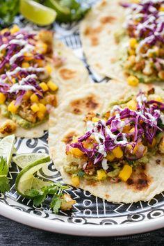 Crispy Cauliflower Tacos with Mango Salsa from loveandoliveoil.com
