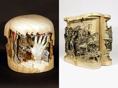 Brian Dettmer. Book art, altered books, book sculpture, carved book, paper art, paper like wood.