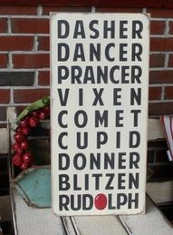 Fab Christmas sign...I need this, cause I can never remember their names :D
