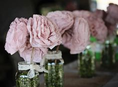 mason jar burlap lace recycled paper flowers and poofs - diy decor for a romantic, rustic, country wedding
