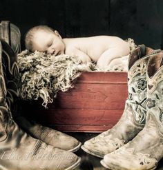Newborn photo idea for a country/camo theme - what a beautiful picture.  Love…