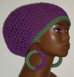 Crochet tam and earrings by Razonda Lee
