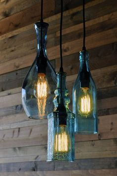 Lights Fixtures + Installations: Triple Recycled Glass Bottle Hanging Light Fixture | #LightFixturesAndInstallations #LightFixtures