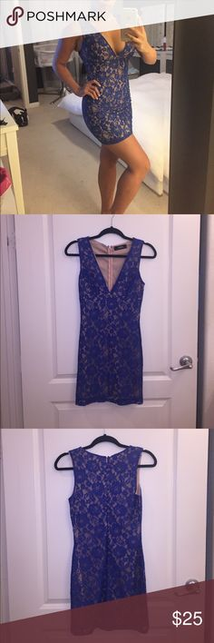 Royal Blue and Nude Lace LuLu's Cocktail Dress XS Royal blue and nude lace LuLu's cocktail dress. Size XS. Hidden zipper up the back. Only worn once. Amazing condition! Lulu's Dresses Mini