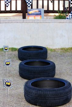 Hot Wheels party game -- ball toss using old tires
