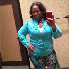 Cute Diva Faux turquoise leather jacket Cute Diva Faux turquoise leather jacket Ashley Stewart Jackets & Coats