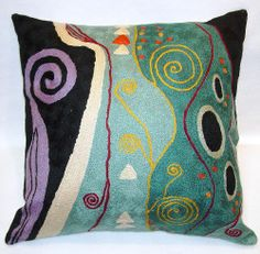 Gustav Klimt Inspired Hand Made Pillow