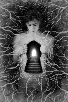 Image result for surreal art woman sitting with sun in her hands