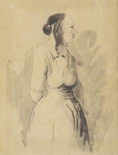 Honoré Daumier    (Marsiglia 1808 - Valmondois 1879) Figura di donna