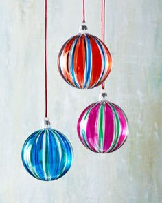 Six Striped Glass Ball Christmas Ornaments. All is merry and bright with these orbs from Horchow.
