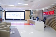 Oktra has designed a new office space for the London operations of printing solutions company Ricoh. Interior Work, Office Interior Design, Office Interiors, Office Reception, Reception Areas, Custom Made Furniture, Furniture Making, Office Decor, Office Ideas