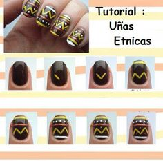 How to decorate ethnic nails step by step Nail Art Pen, Cool Nail Art, Simple Nail Designs, Nail Art Designs, Nails Decoradas, Best Salon, Easter Nails, Get Nails, Beauty Nails