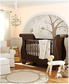 Colourful, minty green nursery with white furniture, to suit baby boy or girl - creams & browns.