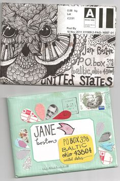 Envelope art - i miss doing this sort of thing! Who wants a pen pal? @Sarah Brown (I 'll be your pen pal!)