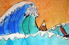 Hokusai Waves elementary art lesson watercolors sprinkled with salt Classroom Art Projects, School Art Projects, Art Classroom, Art School, 2nd Grade Art, Third Grade, Hokusai, Ecole Art, Art Lessons Elementary