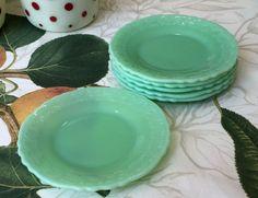 "6 McKee Laurel Jadeite Green 6"" Sherbet Dessert Plates ~ Jadite Green Glass"