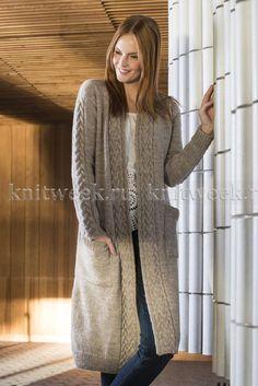 Free Knitting Pattern for a Long Women's Cabled Cardigan ⋆ Knitting Bee Knitted Coat Pattern, Knit Cardigan Pattern, Long Knit Cardigan, Jacket Pattern, Long Sweater Coat, Knit Jacket, Ladies Cardigan Knitting Patterns, Free Knitting Patterns For Women, Knitted Jackets Women