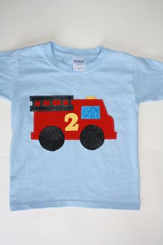 Ready to ship 2T 3T 4T fire truck birthday applique by BeSweetKids, $15.50