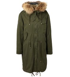 IQ Berlin - Parka with rabbit and racoon fur in green