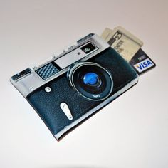 Mini Camera business card sleeve #Etsy, #Neoprene, #hand_sewn $14