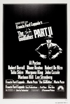 The Godfather Part II, 1974 - original vintage movie poster for the second part of the cult film trilogy about the Corleone crime family, The Godfather Part II, directed by Francis Ford Coppola and starring Al Pacino as the Godfather, Robert Duvall, Diane Keaton, Robert De Niro, Talia Shire, Morgana King, John Cazale, Mariana Hill and Lee Strasberg listed on AntikBar.co.uk