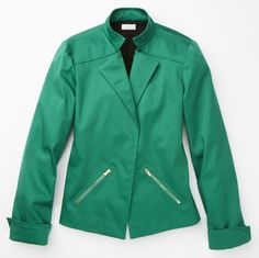 Cotton Sateen Moto Jacket #CinnySays #chicos  Just bought this for a pop of color to late summer/early fall wardrobe