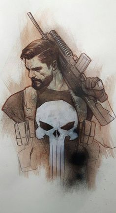 Punisher With Beard - Ben Oliver Punisher Marvel, Marvel Vs, Marvel Heroes, Captain Marvel, Punisher Max, Wolverine, Comic Book Characters, Comic Character, Comic Books Art