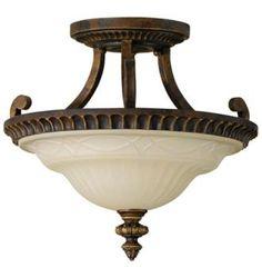 """Edwardian 15"""" diameter semi-flushmount ceiling fixture"""