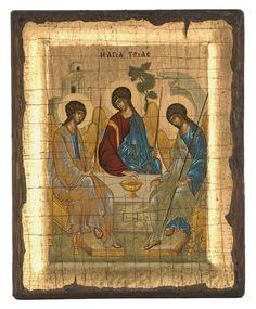 The Holy Trinity - Aged Byzantine Icon - Christianity Art Byzantine Icons, Gold Background, Religious Icons, Orthodox Icons, Christian Art, Holi, Christianity, Carving, Age