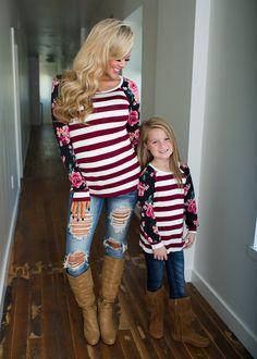 4d4dc8e8f7 Girls Everyday Roses & Stripes L/S Top- Burgundy. Mommy And Me OutfitsKids  ...