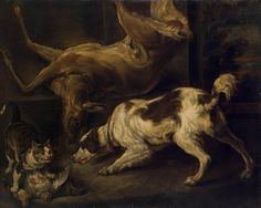 Deer, Dog and Cat - Charles Jervas | Animal Paintings