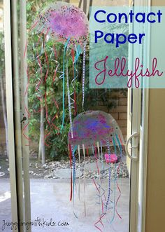 Juggling With Kids: Contact Paper Jellyfish. 2 sheets of contact paper, glitter, sequins, curling ribbon for tentacles. Toddler Crafts, Crafts For Kids, Toddler Art, Medusa, Ocean Activities, Animal Activities, Indoor Activities, Summer Activities, Ocean Crafts