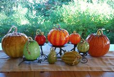 Glass pumpkins.