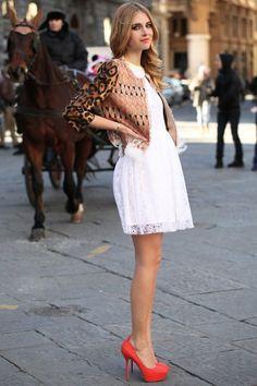 Chiara Ferragni in a cute little white lace dress.