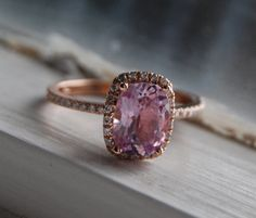 1.8ct Cushion lilac peach lavender champagne color change sapphire 14k rose gold ring on Etsy, $2,000.00
