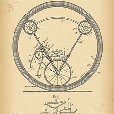1897 Patent Velocipede Bicycle Unicycle history invention