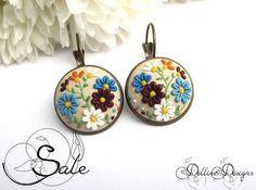 Bloom Handmade Polymer Clay orecchini gioielli di DellineDesigns