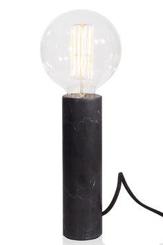 """749 kr: Bordlampa """"Marble XL"""" svarvad cylindrisk fot tillverkad av naturlig marmor. Textilkabel med brytare. Ljuskälla säljes separat. Höjd inkl. ljuskälla 32 cm, diameter 12 cm. Lamphållare E27. Max 60W. Design: Anna Andersson. <br><br>"""