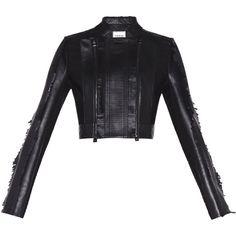 Herve Leger Giordana Leather Fringe Jacket ($3,500) ❤ liked on Polyvore featuring outerwear, jackets, black, hervé léger, fringe jackets, genuine leather jackets, crew jackets and long sleeve jacket