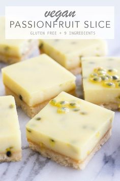 Vegan Passionfruit Slice - Amy Le Creations Vegan Passionfruit Slice - creamy passionfruit layer with an almond biscuit base. Gluten free, 9 ingredients and takes minimal time to make! Vegan Dessert Recipes, Almond Recipes, Gluten Free Recipes, Tofu Recipes, Gluten Free Vegan, Healthy Vegan Desserts, Raw Desserts, Snacks Recipes, Dinner Recipes