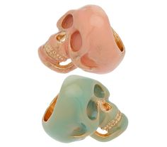 Topshop pastel mint and pink skull rings