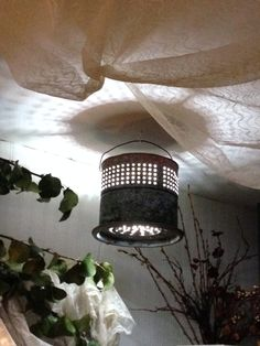Old minnow bucket turned into hanging accent light. At Isaac's Rusty Wagon. Accent Lighting, Outdoor Lighting, Bucket Light, Candle Store, Second Chances, Trash To Treasure, Repurposed Items, Shabby Chic Homes, Cabin Ideas