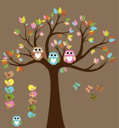 Custom Vinyl Wall Decal Nursery Tree Decal Owl by NurseryDecals, $100.00