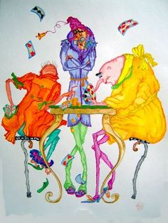 """Poker"" original whimsical watercolor illustration from artist Marina Sciascia (USA)"