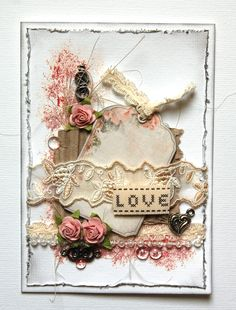 Sweet Shabby White Love Card...with bits 'n pieces of trimmings...Scrapbook.com.