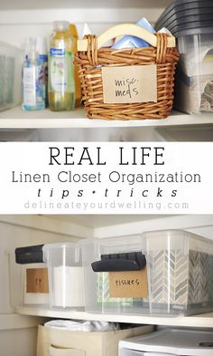 Tips + Tricks to my REAL LIFE Linen Closet Organization, for when it can't always be PINTEREST PERFECT! Delineateyourdwelling.com