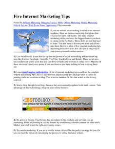 five-internet-marketing-tips by Make Money Online With Rob via Slideshare