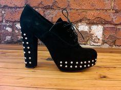 OXFORD Black Suede Lace up Ankle Boots Designer Shoes WEDGE 9 Steampunk Studded High Heels Designer Fernando Pires parladimoda artedellamoda